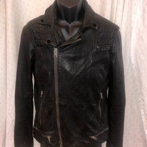 All Saints Men's s Black Leather Jacket